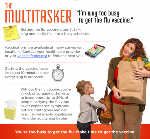 The Multitasker - I'm way too busy to get the flu vaccine. You're too busy to get the flu. Make time to get the vaccine.