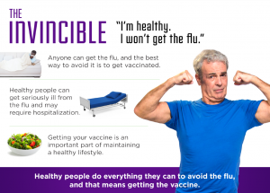 The Invicible - I'm healthy. I won't get the flu. Healthy people do everything they can to avoid the flu, and that means getting the vaccine.