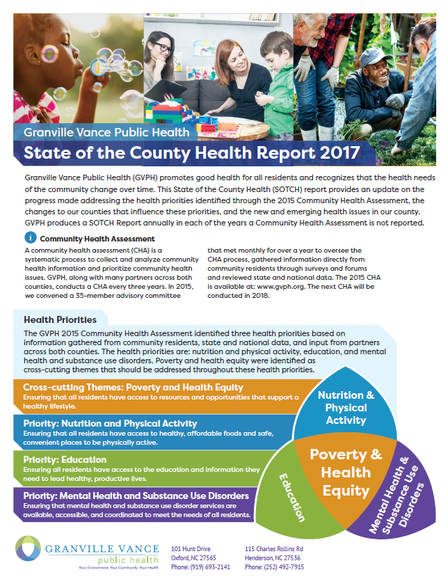 Cover of 2017 State of the County Health report